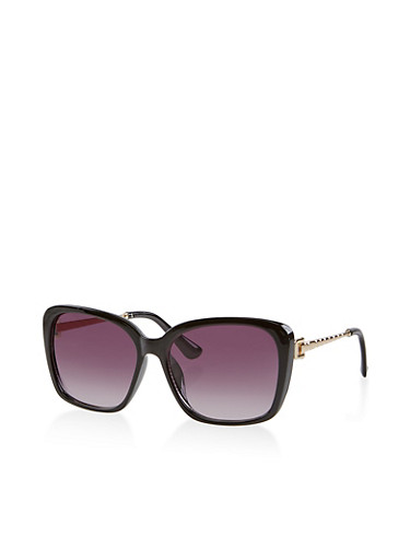 Metallic Arm Plastic Sunglasses | 1134073216936,BLACK,large