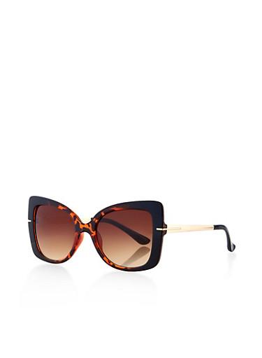 Two Tone Plastic Square Sunglasses,BLACK,large