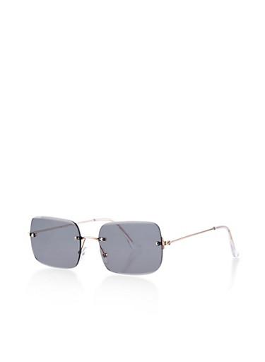 Rectangular Rimless Sunglasses,GRAY,large