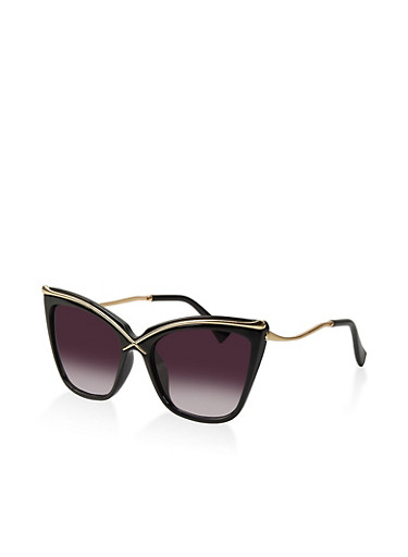 Criss Cross Sunglasses,BLACK,large