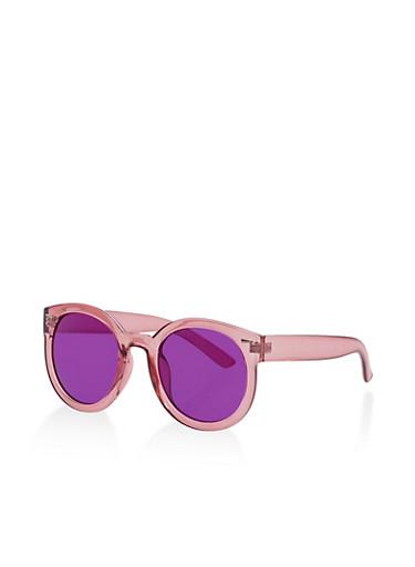 Round Colored Sunglasses,PURPLE,large