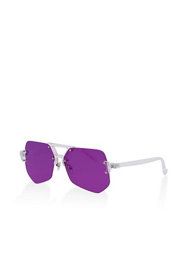 Frameless Colored Lens Aviator Sunglasses,PURPLE,large