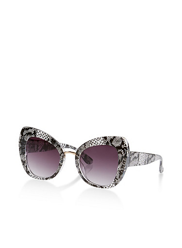 Lace Print Cat Eye Sunglasses,BLACK,large
