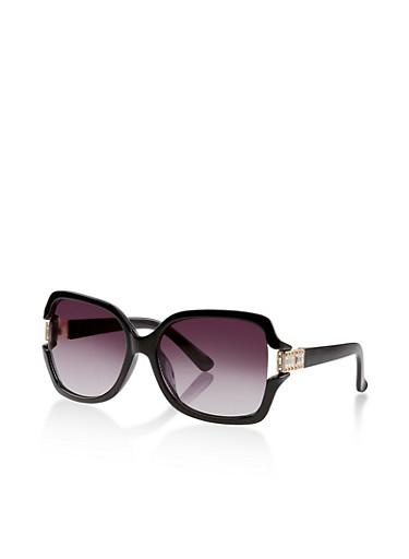 Rhinestone Detail Plastic Sunglasses,BLACK,large