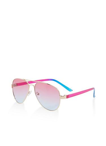 Two Tone Metallic Aviator Sunglasses,PURPLE,large