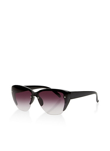 Half Rim Sunglasses,BLACK,large