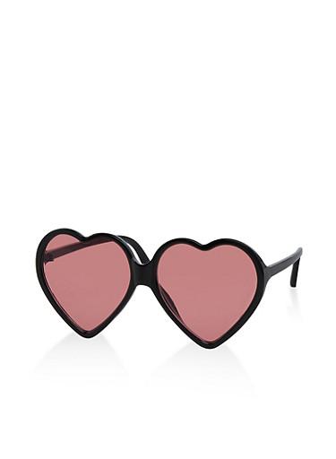 Colored Heart Sunglasses,BLACK,large