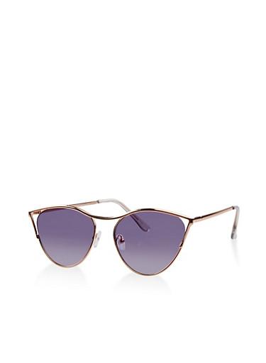 Metallic Open Corner Cat Eye Sunglasses,ROSE,large