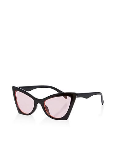 Plastic Cat Eye Sunglasses,BLACK,large