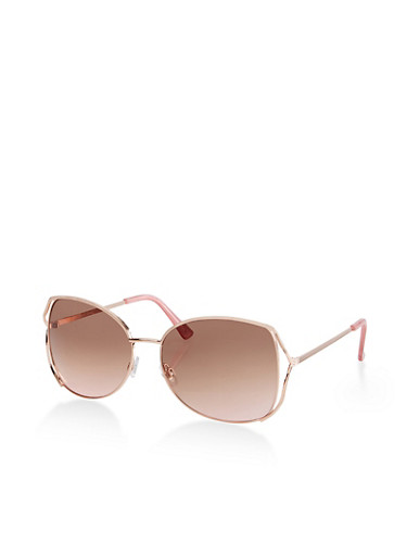 Metallic Open Side Sunglasses,ROSE,large
