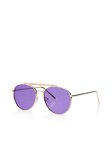 Top Bar Glitter Lense Aviator Sunglasses,PURPLE,large