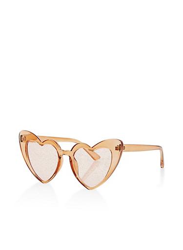 Plastic Glitter Heart Sunglasses,BROWN,large