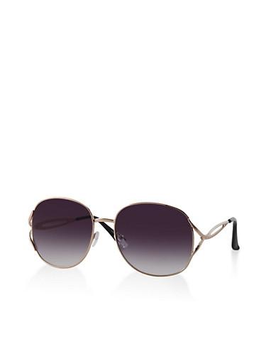 Textured Metallic Open Side Sunglasses,GRAY,large