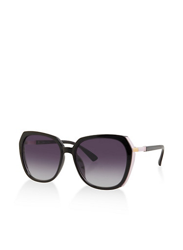 Contrast Trim Oversized Sunglasses,BLACK,large