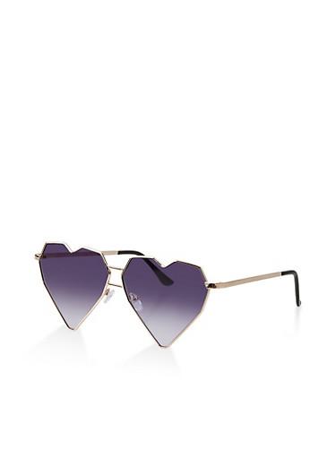 Metallic Heart Frame Glasses,GRAY,large