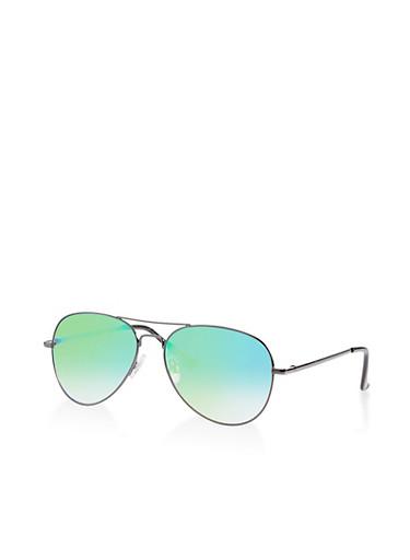 Colored Lens Top Bar Aviator Sunglasses,BLACK,large