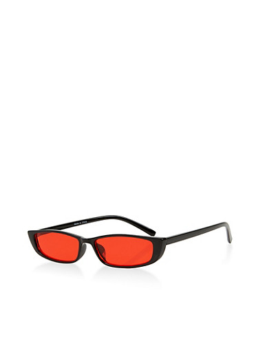 Narrow Colored Lens Sunglasses,RED,large