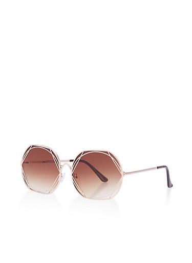 Geometric Metallic Rim Sunglasses,BROWN,large