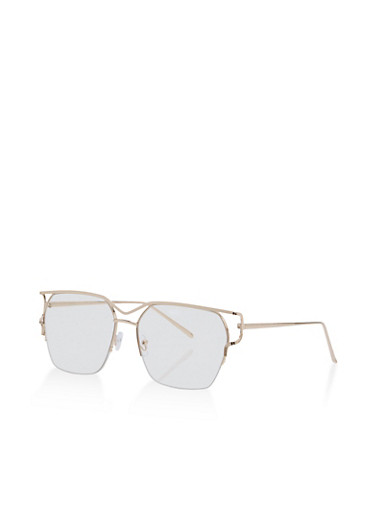 Cutout Side Clear Aviator Glasses,CLEAR/GOLD,large
