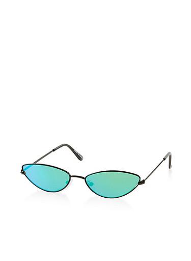 Skinny Mirrored Cat Eye Sunglasses,GREEN,large
