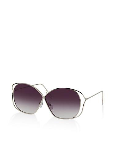 Metallic Rim Colored Sunglasses,GRAY,large