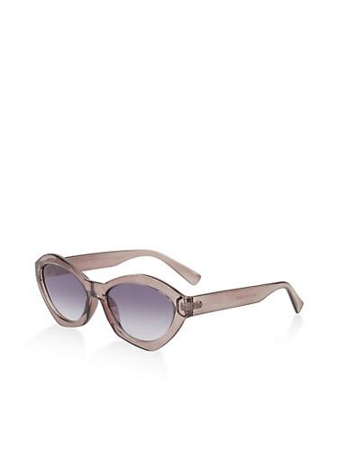 Oval Plastic Sunglasses,GRAY,large
