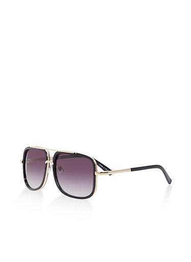 Metallic Frame Aviator Sunglasses,BLACK,large