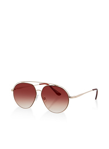 Metallic Aviator Sunglasses,BROWN,large