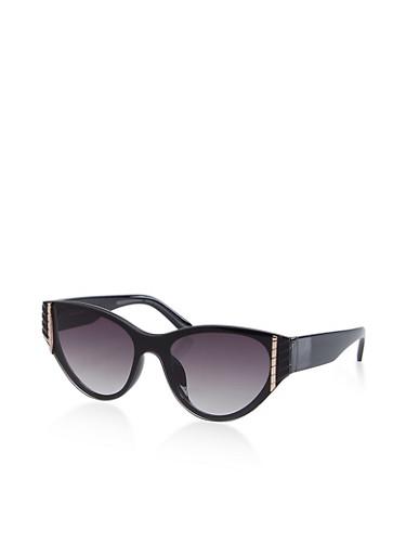 Metallic Detail Cat Eye Sunglasses,BLACK,large