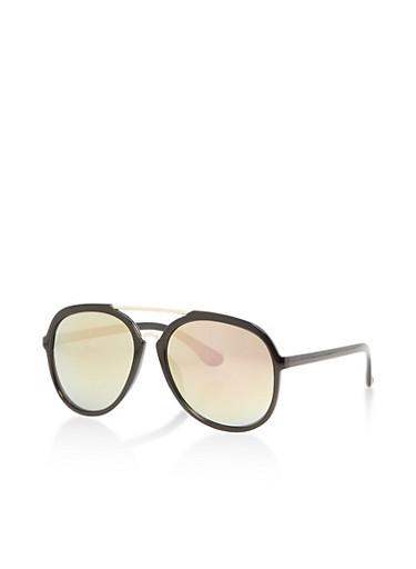 Mirrored Metallic Plastic Aviator Sunglasses,BLACK,large