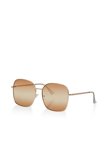 Large Square Colored Sunglasses,BROWN,large