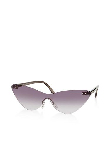 Cat Eye Rimless Shield Sunglasses,GRAY,large