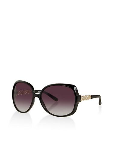Metallic Arm Detail Plastic Sunglasses,BLACK,large