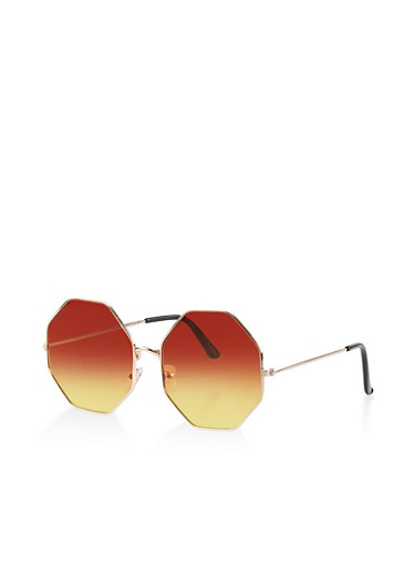 Geometric Two Tone Sunglasses,BROWN,large