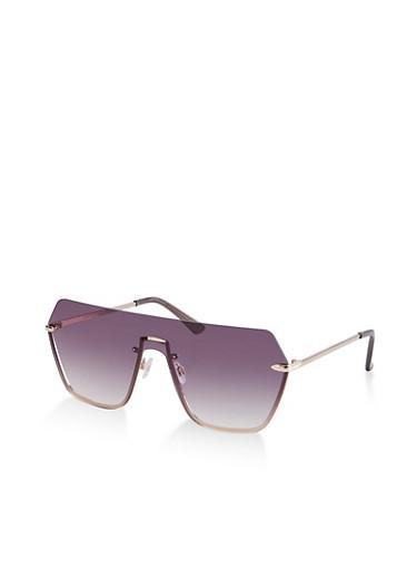 Half Rim Shield Sunglasses,BLACK,large