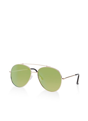 Mirrored Top Bar Aviator Sunglasses,LIME,large