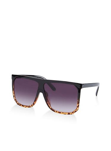 Flat Top Plastic Sunglasses,BLACK,large