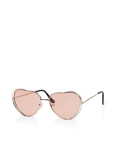 Metallic Heart Sunglasses,PINK,large