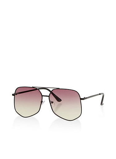 Geometric Colored Aviator Sunglasses,BROWN,large