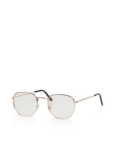 Clear Geometric Glasses,GOLD,large