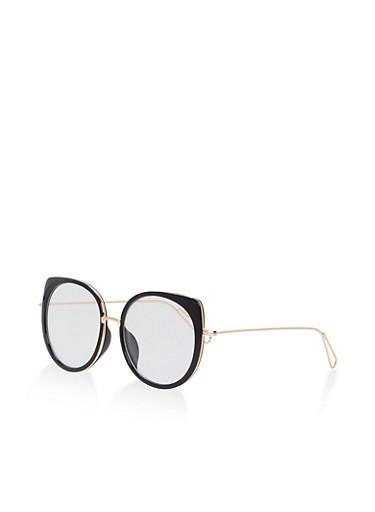 Colored Metallic Cat Eye Glasses,BLACK,large