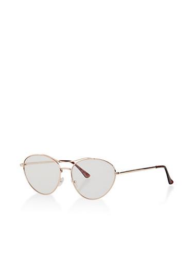 Top Bar Metallic Aviator Glasses,CLEAR,large