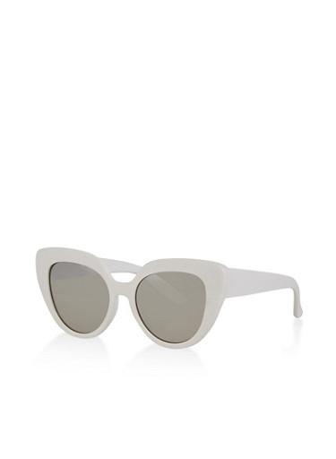 Mirrored Lens Cat Eye Sunglasses,WHITE,large