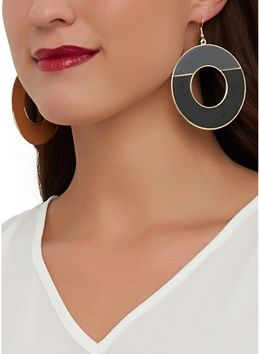 Two Tone Disc Earrings,BLACK,large