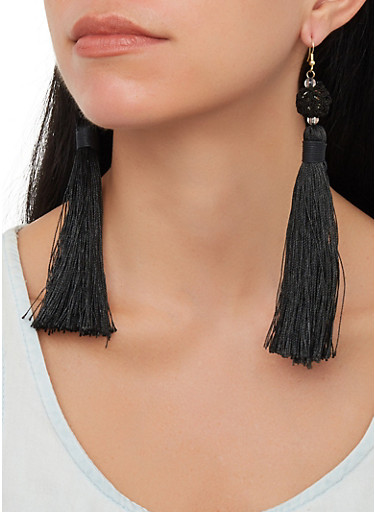 Tassel Drop Earrings,BLACK,large