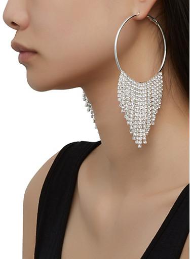Rhinestone Fringe Hoop Earrings,SILVER,large