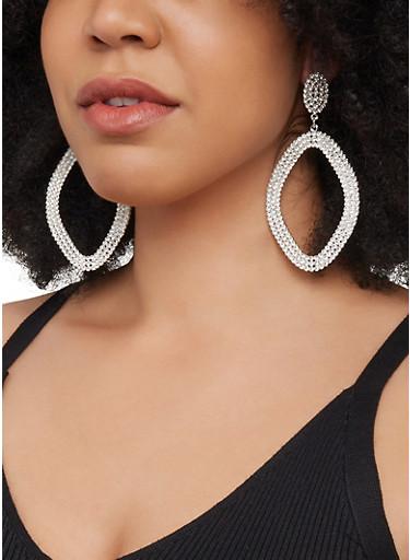 Rhinestone Drop Earrings,SILVER,large