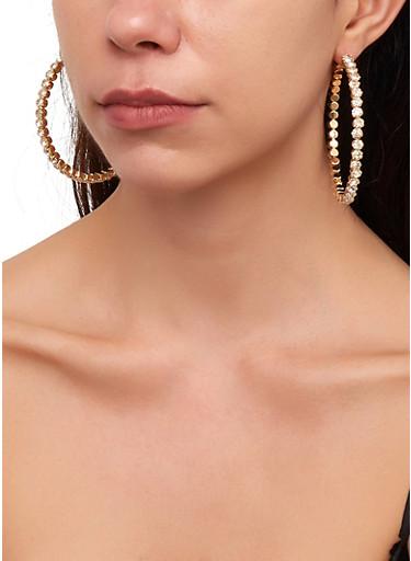 Rhinestone Hoop Earrings | 1135029361113,GOLD,large