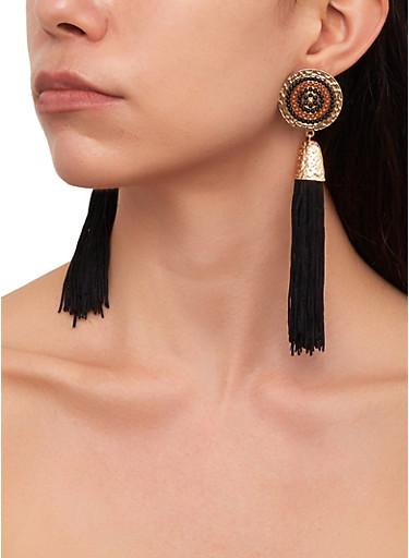 Tassel Disc Drop Earrings,BLACK,large