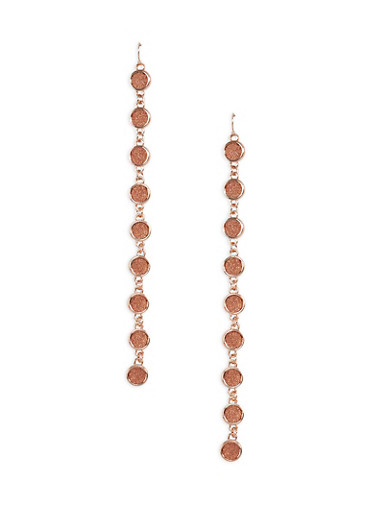 Glitter Circle Chain Drop Earrings,ROSE,large
